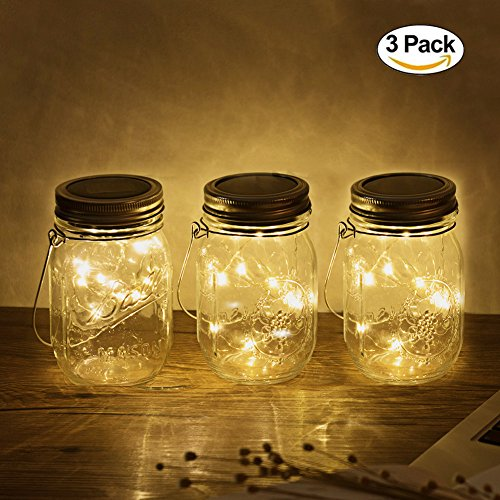 3Pack Mason Jar Licht, 20LED Solar LED Glas Hängeleuchte, Outdoor String Laterne, Dekoration für Zuhause Party Garten Hochzeit (3Pack Warmwhite)