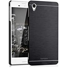 kwmobile Funda para Sony Xperia M4 Aqua - Cover trasero para móvil de aluminio - Case duro negro