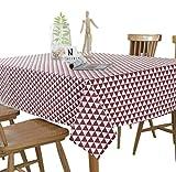 Fansu Manteles Antimanchas, Anti-Stain Rectangular de Mesa de Comedor Cocina Vintage Decoración Hogareña (120X160,Rojo)