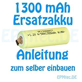 1300 mAh Akku für Professional Care 500 550 und 1000 2000 3000 Ersatz Battery Oral-B mit 14 x 42mm (1300 mAh)