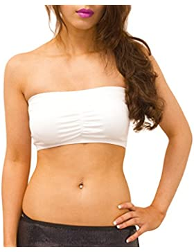SODACODA Seamless padded bandeau bra Boob Tube bra Strapless stretchy with removable Padding (S (UK 6-8), White)