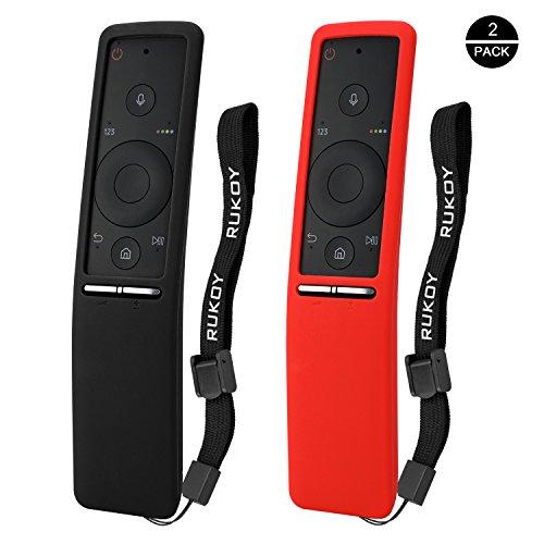 Rukoy Schutzhüllen für Samsung Smart TV Fernbedienung der Serie BN59 [2-Pack: Schwarz + Rot]