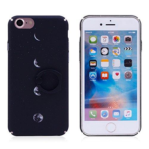 iProtect Hardcase mit Ring Blüten Schutzhülle in Transparent Schwarz mit Fingerhalterung für Apple iPhone 7, iPhone 8 Mondphasen Schwarz.