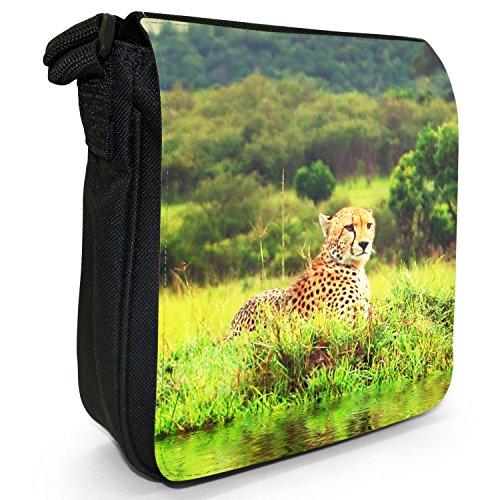 Wild Cat ghepardo piccolo nero Tela Borsa a tracolla, taglia S Wild African Cheetah