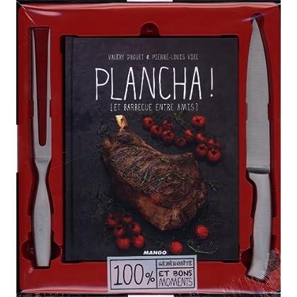 Plancha ! et barbecue entre amis : 1 livre + 1 couteau + 1 fourchette pour plancha et barbecue 100% inox