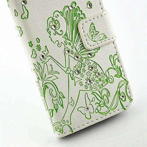 iPhone SE Hülle, iPhone 5S Hülle,iPhone 5 Hülle,SainCat iPhone 5S/SE Ledertasche Brieftasche im BookStyle Blumen-Fee Muster Prägung PU Leder Hülle Bling Diamant Wallet Case Folio Schutzhülle Bumper Ha Blumen-Fee-Weiß+Grün