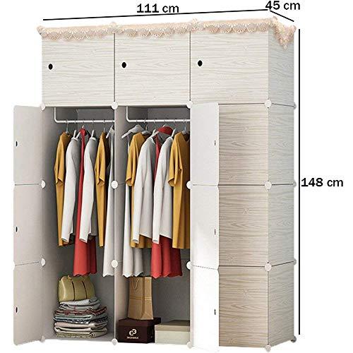 SunbuyHouse - Armario portátil con diseño de madera para colgar ropa, armario, armario modular para ahorrar espacio, organizador de almacenamiento ideal para libros, juguetes, toallas (12 cubo)