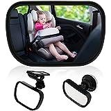 TedGem Bebé Espejo Retrovisor, Universal de Coche Asiento Trasero Vista Espejo Monitor de Coches de Bebé Niño Seguridad con Clip y con Ventosa
