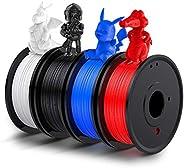 Filament PLA 1.75, LABISTS Filament 3D PLA 1.75 1kg ( 250g x 4 ) Bobines avec 4 Couleurs ( Noir, Blanc, Bleu,