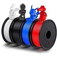 Filament PLA 1.75, LABISTS Filament 3D PLA 1.75 1kg ( 250g x 4 ) Bobines avec 4 Couleurs ( Noir, Blanc, Bleu, Rouge ) pour Imprimante 3D et Stylo 3D