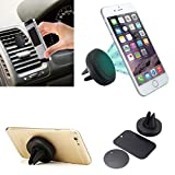 Earl Car Phone holder Universal Air Vent Magnetic Phone Holder Car Magnetic Mount Cradle for Apple iPhone 6S Plus 6 Plus 5S 5C 5, Samsung Galaxy S6 Edge Plus S5 S4 Note 5 4 3, Nexus, Smartphones and Mini Tablets - Black
