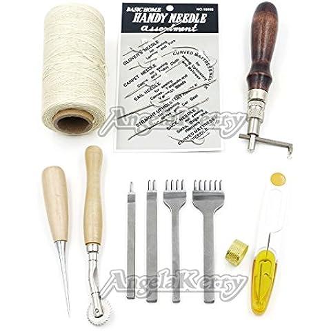 Angelakerry 12pcs/caja Leathercraft herramientas básicas de accesorios Kit de costura a mano con 150d 284yrd encerado hilo 1mm