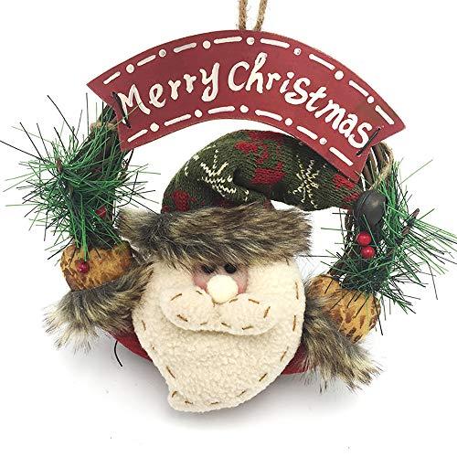 (XBCC Weihnachtskranz Kleine Rattan Kreis Santa Anhänger Weihnachtsschmuck Platte hängen Ring-Alter Mann)