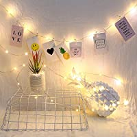 HVdsyf Fairy Lights, 2/5/10m 20/50/100 Micro Lights Photo Peg Clips Fairy Lights Battery Operated for Party Decor 50Led