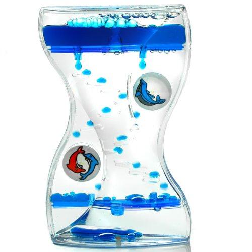 Liquid Timer - Delphine, Zahnputz-Uhr mit rotierenden Motive, blau oder rot