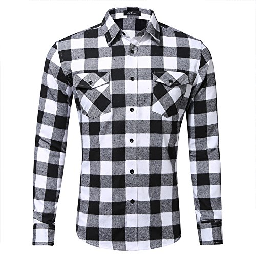 Space Climber Men's Shirts Casual Dress Formal Long Sleeve Regular Slim Fit Flannel Cotton Plaid Checkered For Winter Autumn Spring