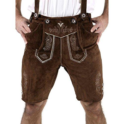 Almbock Trachtenlederhose kurz Leo (schokobraun) in Größe 46 48 50 52 54 56 58 60 - schoko-braune kurze Lederhose mit edler Stickerei für Männer 50