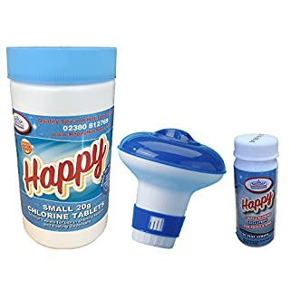 Happy Hot Tubs *50 Chlorine Tablets 20g* + *50 Happy Test Strips* + *Dispenser* Swimming Pool Spa