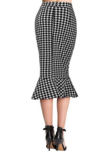 Fordestiny Damen Kleid 1951er Zwei Stile Retro Polka Dots Hahnentritt Muster Party Fishtail Rock -