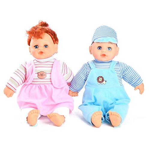 Smibie Reborn Babypuppen Neugeborenes lebensechtes weiches Baby Zwillingspuppen Set, 14 inch Puppe Spielzeug niedliche Kleidung süße Jungen und Mädchen Puppen(DE Stock)