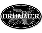 Oval Drummer Aufkleber (Schlagzeug Band Aufkleber Musik Musiker)