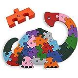 Puzzle Zahlenpuzzle Holzpuzzle Lernhilfe für Kinder ab 3 Jahre - Zahlen von 1-26 - Buchstaben von A-Z - ***MODELL DINOSAURIER*** - Pädagogisches Lernspiel aus Echtholz - Kinderspielzeug Denkspiel