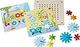 HABA 303870 - Zahnradspiel Tiere bei der Arbeit | Motorikspielzeug mit 4 verschiedenen Hintergrundbildern und bunten Zahnrädern zum Zusammenstecken | Spielzeug ab 2 Jahren
