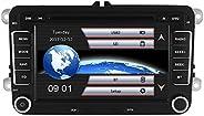 AUMUME 2 Din Autoradio mit Navi für VW Golf Skoda Seat, Unterstützt Touchscreen DVD GPS Navigation Radio Bluet