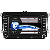Yingly 7 Inch 2 Din Car Stereo for VW Golf Skoda Seat with Wince System DVD Player GPS Navigation FM AM Radio Bluetooth USB SD Support Parking Camera Steering Wheel Control 1080P Video 8 GB Map Card