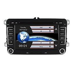 Yingly Doppel din Autoradio für VW Radio mit Navi Unterstützt Radio Touchscreen Bluetooth MicroSD Lenkradsteuerung Parkkamera (Mit Karte Karte)