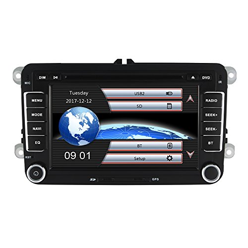 Yingly 7 Zoll 2 Din Autoradio für VW Golf Skoda Seat mit Wince System DVD Player GPS Navigation FM AM Radio Bluetooth USB SD unterstützt Park Kamera Lenkrad Bedienung 1080P Video 8GB Kartenmaterial (Navigation Dvd-player)