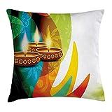 Fodera per Cuscino Diwali Throw, Modern Arcobaleno colorato Disegno Paisley Dettagliato con Festivo Candle Artwork Print, Fodero per Cuscino Quadrato Accento Decorativo, Multicolor