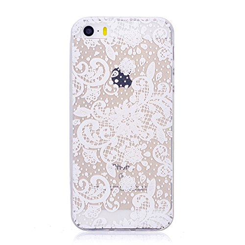 Coque iPhone 5 5S 5G / iPhone SE , Ecoway TPU Très transparent Soft Silicone motifs peints Housse en silicone Housse de protection Housse pour téléphone portable pour iPhone 5 5S 5G / iPhone SE - Fleur de dentelle blanche
