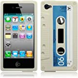 iPhone 4 / iPhone 4G Cassette Tape Silicone Case / Cover / Shell / Skin - White