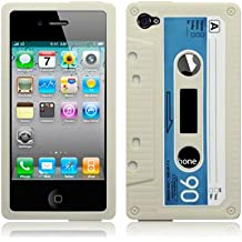 IPHONE-4 / IPHONE 4G-CASSETTE TAPE SILICONE CASE / COVER / SHELL / SKIN - BIANCO