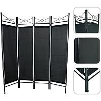 Todeco - Biombo, Divisor de Habitaciones - Panel: 100% Poliéster - Número de paneles: 4 - 180 x 160 cm, Negro - Muebles de Dormitorio precios