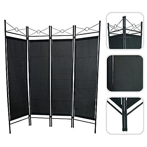 Todeco - Paravent, Séparateur de Pièces - Matériau du panneau: 100% Polyester - Nombre de panneaux: 4 - 180 x 160 cm, Noir