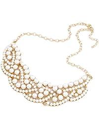 Gotik Halskette Bib Choker Bohemian Collar Perle Kette goldig Modeschmuck