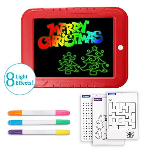 LIUMY - 34 PCS Zeichenbretter zum Aufleuchten, 6 Farbstifte mit 8 Neonfarben, 30 Schablonen zum Ausmalen, Zeichnen, Schreiben Rechnen (Exklusion Batterie) -