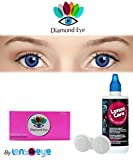 #10: New Diamond Eye zeropower Sky Blue Color Quaterly (3 Months) Contact Lenses with Free Lens Care Kit (2 Lens Pack) By Lens4Eye
