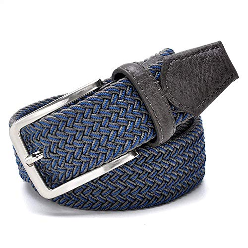 aoliaoyudonggha Men Stretch Waist Canvas Braided Elastic Woven Leather Belt Wide Metal Belts -
