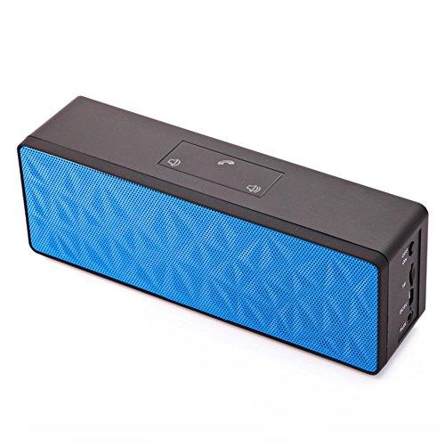 HanLuckyStars N16 Altavoz Portátil Impermeable e Inalámbrico con Bluetooth, Sonido Estéreo con Micrófono y LED Luces, Soporta Tarjeta IT, Control de Panel Táctil para Todos los Smartphone Android Windows , Tabletas, Ordenadores Portátiles (Azul)