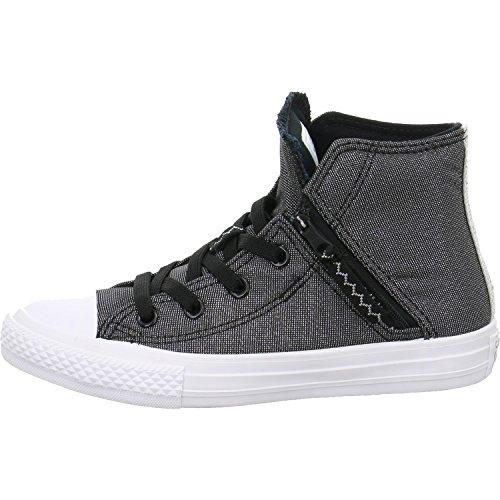 Converse Unisex-Kinder Chuck Taylor CTAS Pull-Zip Hi Sneakers, Mehrfarbig (Black/White/Pure Silver 001), 35 EU