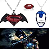 "(2 Pcs SET) - BATMAN SUPERMAN DAWN OF JUSTICE LOGO (BLACK METAL) & IRONMAN HELMET (BLUE/SILVER) IMPORTED PENDANTS WITH CHAIN. LADY HAWK DESIGNER SERIES 2018. ❤ ALSO CHECK FOR LATEST ARRIVALS OF ""LADY HAWK"" BRAND PRODUCTS - NOW LISTED"