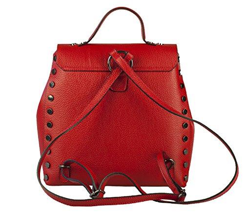 ZETA SHOES Zaino donna in vera pelle made in italy borchie MainApps Rosso