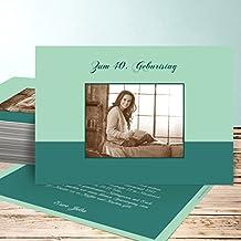 Einladung 80er Party Geburtstag, Lebensfreude Foto 140 Karten, Horizontal  Einfach 148x105 Inkl. Weiße