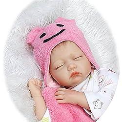 NPKDOLL Réaliste Bébé Reborn Poupée Baby Doll Yeux fermés Poupons Silicone Fille Bouche magnétique 22 Pouce 55 cm