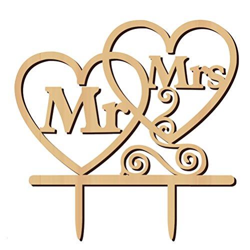 WINOMO Topper Torte Cuore Mr Mrs Lettere in Legno Decorazioni Torta Decorazione Matrimonio