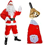 DELUXE SANTA COSTUME 12 PIECE FATHER CHRISTMAS INCLUDING: RED JACKET WITH FAUX FUR TRIMMING + ELASTICATED RED TROUSERS + RED SANTA HAT WITH FLUFFY BAUBLE + CURLY WHITE WIG + LONG SOFT WHITE BEARD + LEATHER LOOK BOOT COVERS WITH FAUX FUR TRIMMING + LEATHER LOOK BELT + GOLD HALF MOON GLASSES + WHITE GLOVES + XLARGE SANTA SACK AND BELL WITH WOODEN HANDLE - EXCLUSIVE TO ILOVEFANCYDRESS - XXXLARGE