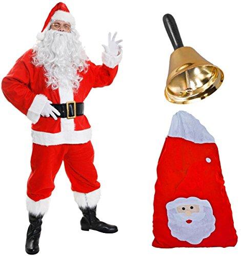 Deluxe Santa Kostüm Weihnachtsmann=Jacke+Hose+Mütze+Perücke+Bart+Boot Abdeckungen mit Kunstfell Besatz Gürtel + Half Moon Gläser+Handschuhe+Sack Glocke mit Holzgriff =SMALL (Boot-abdeckungen Für Kostüme)